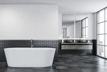 White And Gray Bathroom, Tub A...