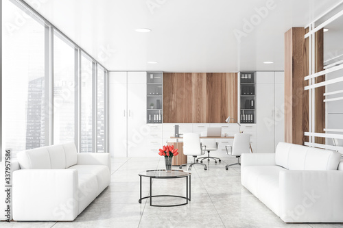 White CEO office with lounge area Canvas Print