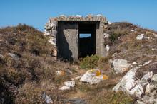 Entrance Of A Bunker Of A Sea Defense Construction Near The Frouxeira Lighthouse, Valdovino, Galicia, Spain