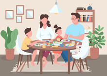 Family Meal Flat Color Vector ...