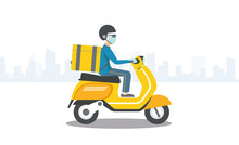 Fast Sterile Moped Delivery In The City During Quarantine Through Coronavirus COVID-19; Courier In Medical Mask And Gloves On Scooter