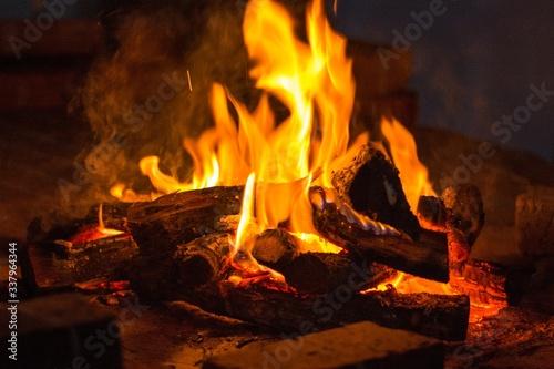 Fotografia, Obraz Bonfire Outdoors At Night