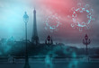 Covid-19, night city, neon lights, dark empty streets, abstraction background with elements of the virus. The epidemic of viral diseases. Micro organisms, macro. Pandemic, social environment.