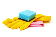 Cyan Kitchen Sponge, Yellow Household Gloves And Red Surface Cleaning Wipe Isolated On White Background
