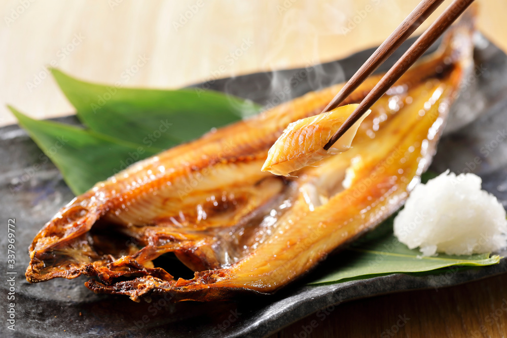 Fototapeta ほっけの焼き魚 Grilled fish of Hokke(Arabesque greenling) Japanese style