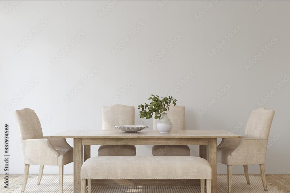 Fototapeta Modern dining room. 3d render.