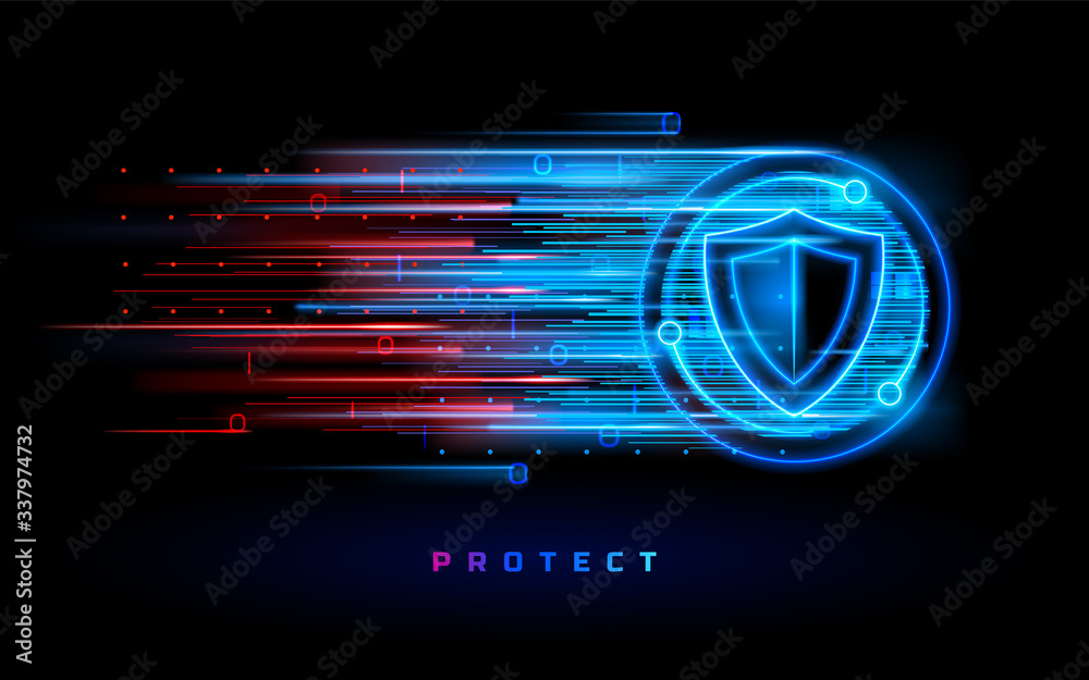 Fototapeta Badge with shield and digital flow. Icon or sign with protection crest. Antivirus and firewall, virus protection background, internet safety symbol, secure and armor, fire wall and anti virus online