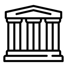 Greek Temple Icon. Outline Greek Temple Vector Icon For Web Design Isolated On White Background