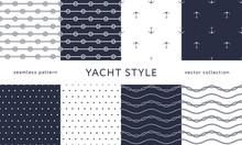 Nautical Seamless Patterns. Ya...