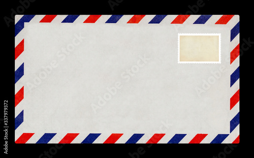 Vintage postage envelope on a black background, message, air mail Canvas Print