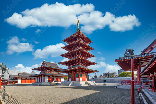 Canvas Print Shitennoji is one of the oldest Buddhist temple in Osaka, The five story pagoda and blue sky background at Shitennoji Temple, The oldest ancient architecture temple in Osaka, Japan