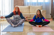 Redhead adult woman and little brunette girl wearing sports clothes doing fitness on mats indoors