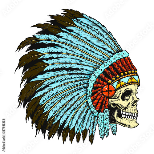Photo Illustration of native indian skull in traditional headdress