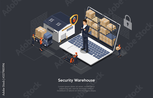Papel de parede Isometric Concept Of Warehouse Security, Safe Logistics Delivery Service And Staff