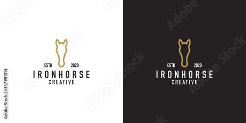 Iron horse logo design templates
