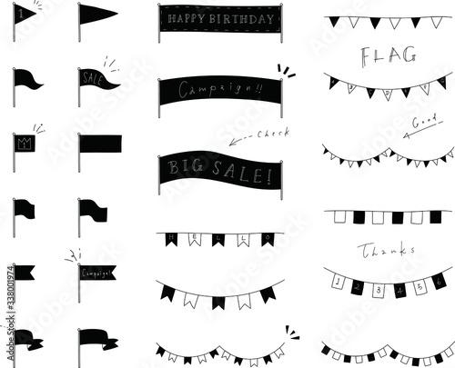 旗のおしゃれな手書き風の見出し装飾・素材/イラスト/フレーム/セット Canvas Print