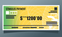 US Coronavirus COVID-19 1200 Economic Stimulus Check Payment Illustration Vector. Government Economy And Financial Relief Element. Can Be Used For Web And Infographic.