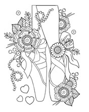 Black And White Outline Vector Coloring Book For Adults. Ballerina Legs In Pointe Shoes Among Stylized Flowers