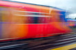 canvas print picture - fast train in motion blur