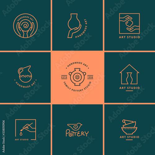 Valokuva Set of vector logo layouts for art studio, pottery or ceramic studio