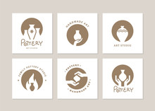 Set Of Vector Logo Layouts For Art Studio, Pottery Or Ceramic Studio