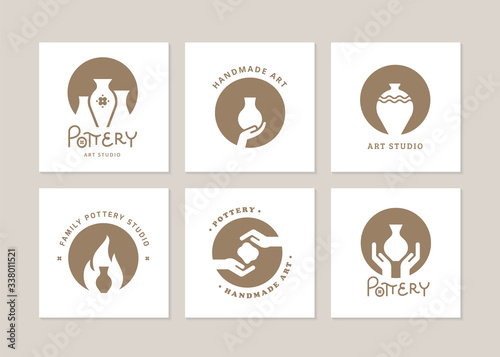 Set of vector logo layouts for art studio, pottery or ceramic studio Fototapeta