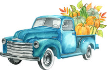Watercolor Retro Truck With Ha...