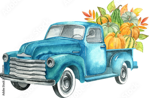 Watercolor retro truck with harvest - pumpkin vegetables Fototapeta