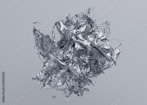 Slika na platnu Abstract 3d render, modern background design, silver liquid splash