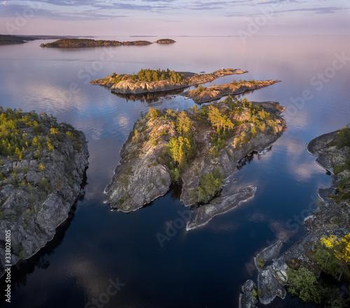 Obraz na plátně Ladoga lake at summer night