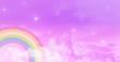 Leinwandbild Motiv Abstract kawaii. Rainbow dreams fairytale unicorn sky background. Soft gradient pastel cartoon graphic. Concept for wedding card design or children's party
