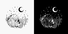 Illustration Of Mushrooms With A View Of The Moon And Stars, Merging Of Mushroom And Moon Tattoos, Monoline Design