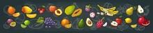Set Tropical Fruits. Vector Bl...