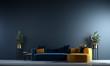 Leinwanddruck Bild Modern interior of living room design and blue wall background