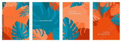 Vector set of abstract backgrounds with copy space for text - bright vibrant banners, posters, cover design templates, social media stories