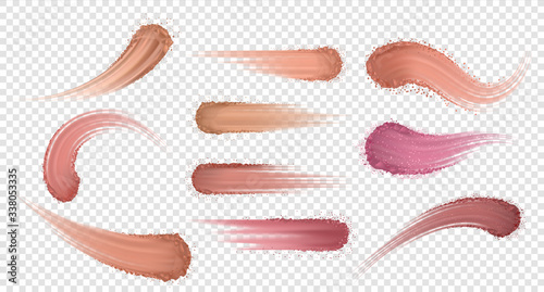 Fototapeta Makeup powder. Realistic eyeshadow and blusher swatch, skin tone shadows. Vector set swatches of dry powder isolated on transparent background for emphasize nature eye beauty obraz