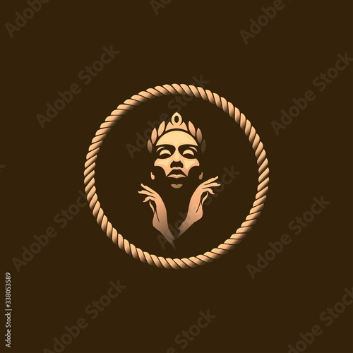 Valokuva Golden Queen Logo Template With Gold Colour Isolated on Dark Background, Vector Illustration EPS10