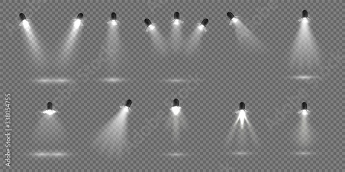 Obraz Spotlight for stage. Realistic floodlight set. Illuminated studio spotlights for stage. Vector illustration stage lighting effect for theater or concert backdrop - fototapety do salonu