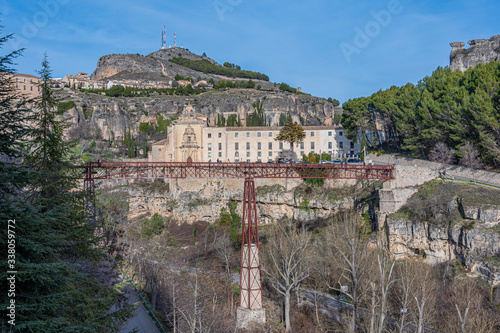 Stampa su Tela metal bridge and old monastery in the city of Cuenca. Spain