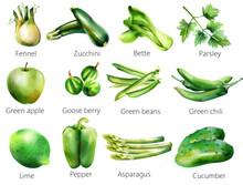 Set Of Green Vegetables And Fr...