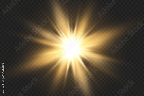 Photo Glow isolated white transparent light effect set, lens flare, explosion, glitter, line, sun flash, spark and stars