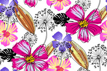 Fantastic Flowers. Seamless Pa...