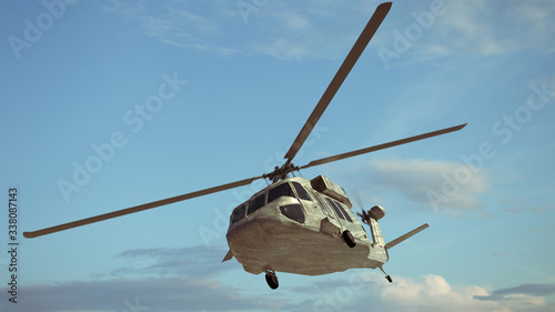 Military helicopter. Render 3d. Illustration. Canvas Print