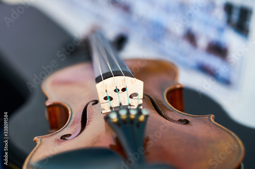 Fotografie, Obraz violin strings in closed up ,selective focus with copy space