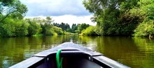 Canoeing Through A River. Boat Ride. Old Canoe On River Lahn In Germany.  Active, Adventure, Outdoors, Canoeing, Kayaking