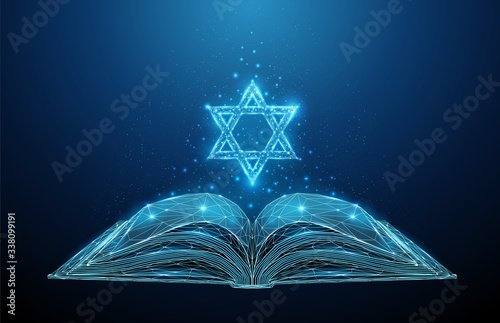 Photo Abstract open Torah book with star of David