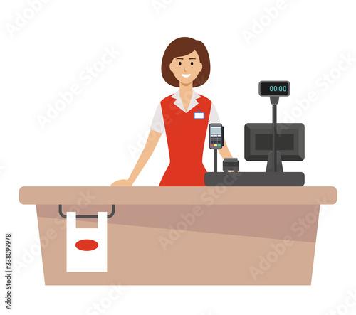 Supermarket cash desk and woman cashier #338099978