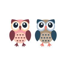 Cute Owl Colorful Cartoon. Owl...