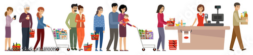 Grocery store queue. People with shopping carts and basket with food #338100199