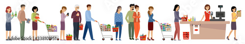 Grocery store queue. People with shopping carts and basket with food #338101951